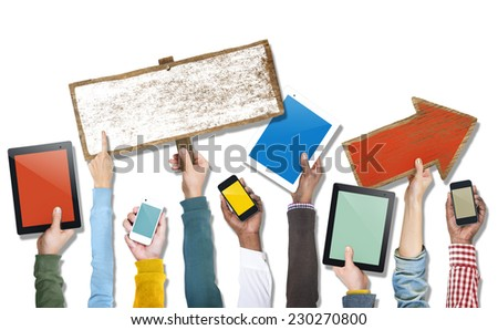 Hands Holding Devices, Sign Board and Arrow Sign - stock photo