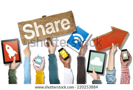 Hands Holding Devices Social Media Concept and Symbols - stock photo