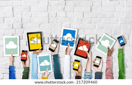 Hands Holding Digital Devices Cloud Networking - stock photo