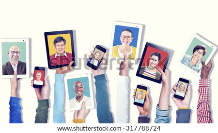 Hands Holding Digital Devices Communication COncept