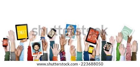 Hands Holding Digital Devices Social Media - stock photo