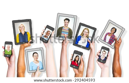 Hands Holding Digital Devices with People's Images