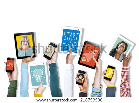 Hands Holding Digital Devices with Pictures and Symbols
