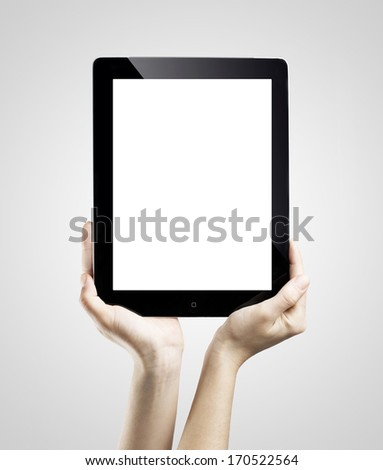 hands holding digital tablet - stock photo
