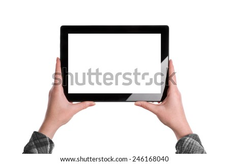 Hands holding Digital Tablet Computer in horizontal position with Blank White Screen isolated on white background - stock photo