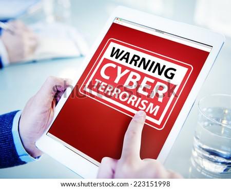Hands Holding Digital Tablet Cyber Terrorism - stock photo