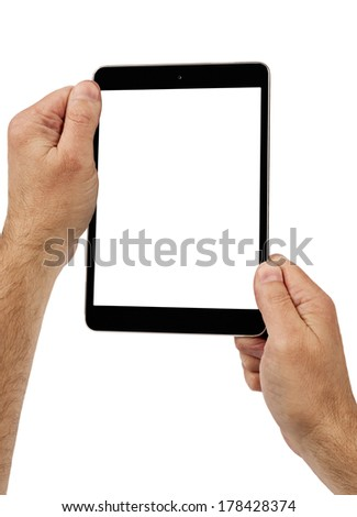 Hands Holding Digital Tablet Vertical Shot Isolated On White/ Copy Space