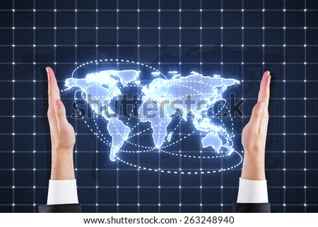 hands holding digital world map interface - stock photo