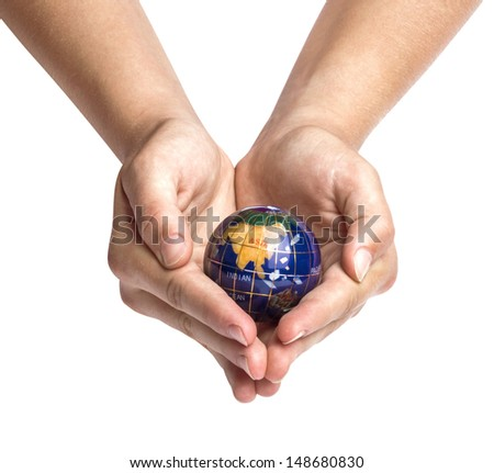 Hands holding Earth globe - stock photo