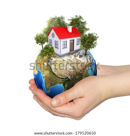 Hands holding earth. Isolated on white background - stock photo