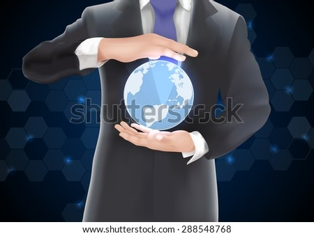 Hands holding earth  of  background  on blue and black