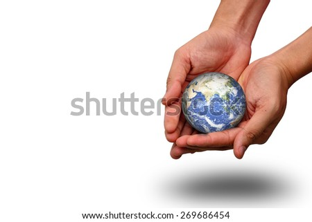 hands holding earth on white background - stock photo
