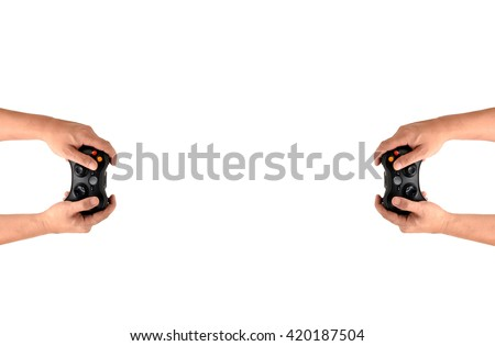 Hands Holding Gamepad isolated on white