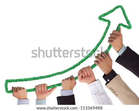Hands holding green arrow - stock photo