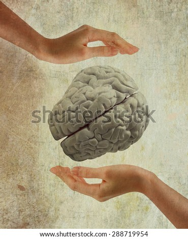 hands holding human brain  on white background. modern knowledge, creativity, inspiration concept - stock photo