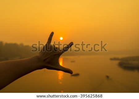 Hands holding i love you On Sunrise Love Hope encourage Concept.