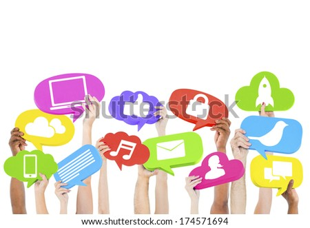 Hands holding icons - stock photo