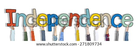 Hands Holding Independence Word Concept - stock photo
