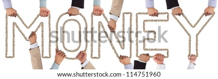 Hands holding letters forming MONEY tag
