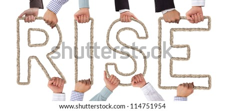 Hands holding letters forming RISE tag