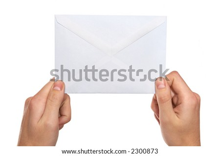 hands  holding mail - stock photo