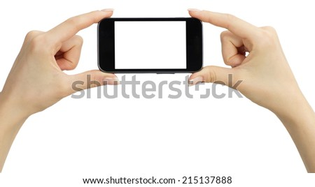 Hands holding mobile isolated on white - stock photo