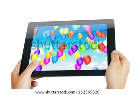 hands holding mobile pad isolated