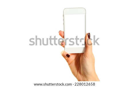 Hands holding mobile phone isolated on white - stock photo