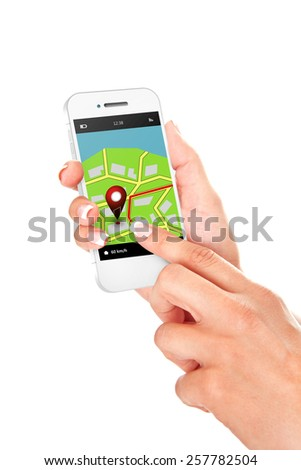 hands holding mobile phone with gps application and map isolated over white background - stock photo