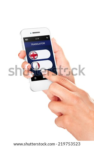 hands holding mobile phone with language translator application over white background