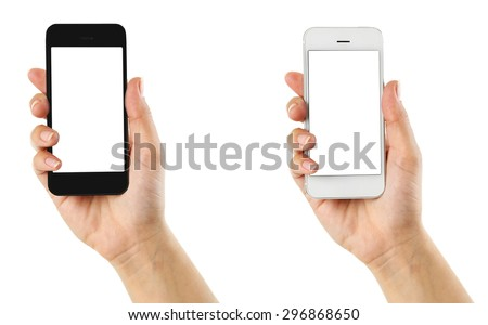 Hands holding mobile smart phones, isolated on white - stock photo