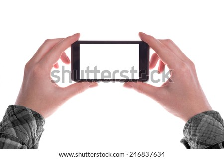 Hands holding Mobile Smartphone Device in Vertical Position with Blank White Screen as Copy Space isolated on white background - stock photo