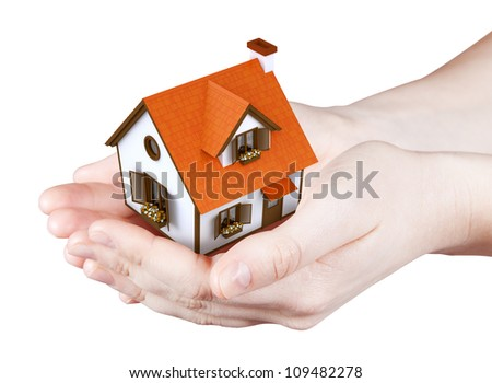 Hands holding offer house. Concept growing business, real estate, ecology, freshness, freedom and lifestyle issues. Handful collection. - stock photo