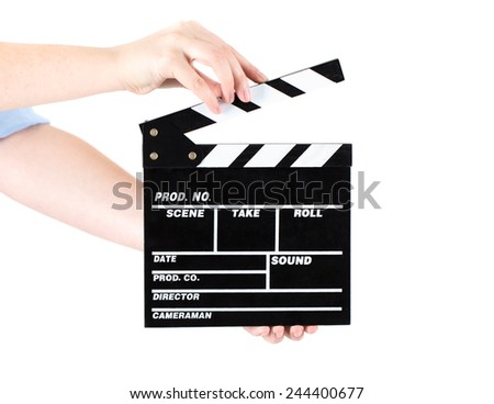 Hands holding out a clapper board. Isolated on white background