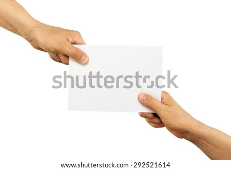 Hands holding paper isolated on white - stock photo