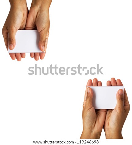 hands holding paper isolated on white background