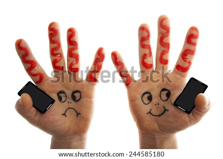 Hands holding phones  and having a conversation - stock photo