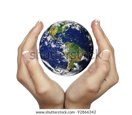 Hands holding planet Earth isolated on white - stock photo