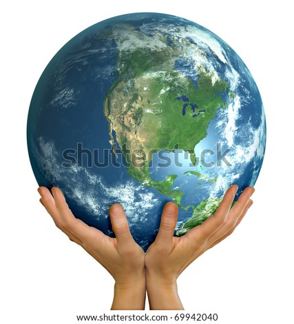 Hands holding realistic big globe symbolizing environmental care, facing North America - stock photo