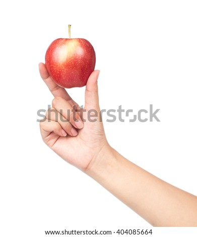Hands holding red apple isolated on white background