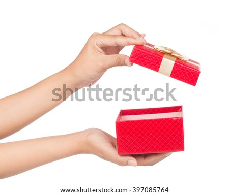 hands holding red gift box isolated on white background