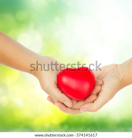 hands holding red heart on green garden  background