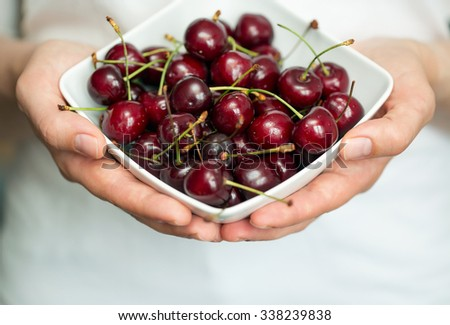 Hands holding ripe cherries. Shallow dof - stock photo