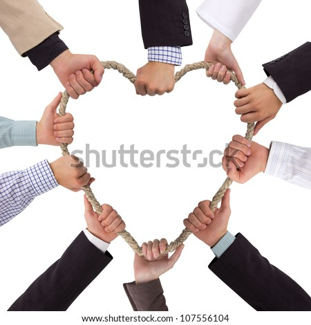 Hands holding rope forming a heart with white space for text - stock photo