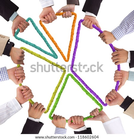 Hands holding rope forming colorful circular graph - stock photo