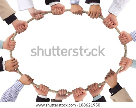 Hands holding rope forming ellipse - stock photo