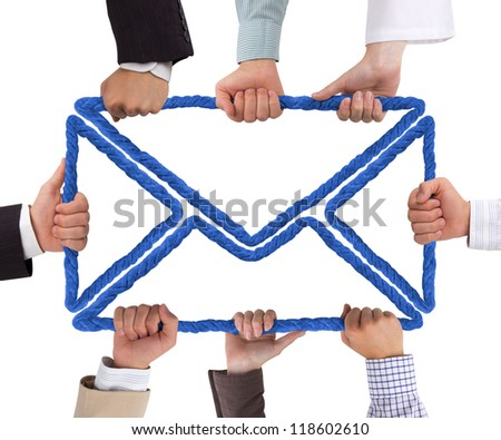 Hands holding rope forming letter