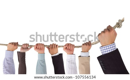 Hands holding rope with white space for text, leadership concept - stock photo