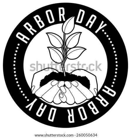 Hands holding seedling Arbor Day icon. Royalty free stock illustration for ad, promotion, poster, flier, blog, article, ad, marketing, conservation, gardening, brochure - stock photo