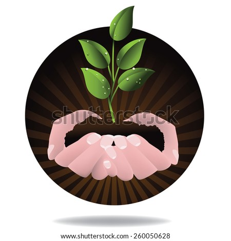 Hands holding seedling design. royalty free stock illustration for ad, promotion, poster, flier, blog, article, ad, marketing, conservation, gardening, brochure - stock photo